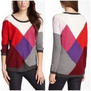 Ella Moss Colorblock Houndstooth Knit Sweater